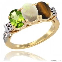 10K Yellow Gold Natural Peridot, Opal & Tiger Eye Ring 3-Stone Oval 7x5 mm Diamond Accent
