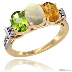 10K Yellow Gold Natural Peridot, Opal & Whisky Quartz Ring 3-Stone Oval 7x5 mm Diamond Accent