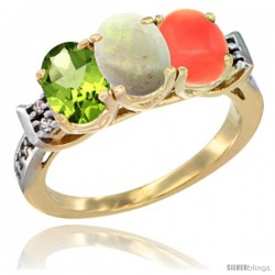 10K Yellow Gold Natural Peridot, Opal & Coral Ring 3-Stone Oval 7x5 mm Diamond Accent