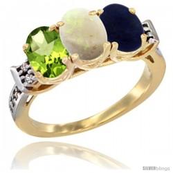 10K Yellow Gold Natural Peridot, Opal & Lapis Ring 3-Stone Oval 7x5 mm Diamond Accent