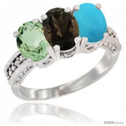 14K White Gold Natural Green Amethyst, Smoky Topaz & Turquoise Ring 3-Stone 7x5 mm Oval Diamond Accent