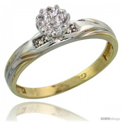 10k Yellow Gold Diamond Engagement Ring 0.06 cttw Brilliant Cut, 1/8in. 3.5mm wide -Style Ljy014er