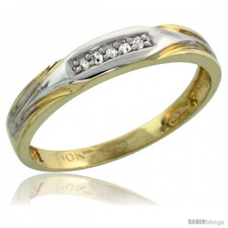 10k Yellow Gold Ladies Diamond Wedding Band Ring 0.03 cttw Brilliant Cut, 1/8 in wide -Style Ljy014lb