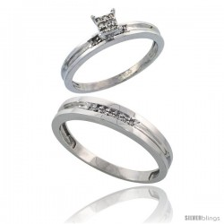Sterling Silver 2-Piece Diamond wedding Engagement Ring Set for Him & Her Rhodium finish, 3.5mm & 4mm wide -Style Ag019em