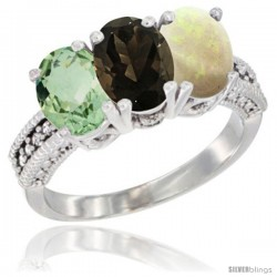 14K White Gold Natural Green Amethyst, Smoky Topaz & Opal Ring 3-Stone 7x5 mm Oval Diamond Accent