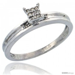 Sterling Silver Diamond Engagement Ring Rhodium finish, 1/8inch wide -Style Ag019er