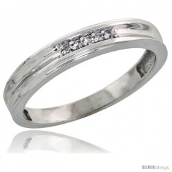 Sterling Silver Ladies' Diamond Wedding Band Rhodium finish, 1/8 in wide -Style Ag019lb