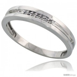 Sterling Silver Men's Diamond Wedding Band Rhodium finish, 5/32 in wide -Style Ag019mb