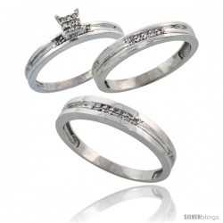 Sterling Silver Diamond Trio Wedding Ring Set His 4mm & Hers 3.5mm Rhodium finish -Style Ag019w3