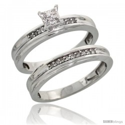 Sterling Silver Ladies' 2-Piece Diamond Engagement Wedding Ring Set Rhodium finish, 1/8 in wide -Style Ag020e2