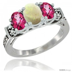 14K White Gold Natural Opal & Pink Topaz Ring 3-Stone Oval with Diamond Accent