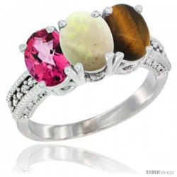 14K White Gold Natural Pink Topaz, Opal & Tiger Eye Ring 3-Stone 7x5 mm Oval Diamond Accent