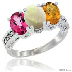 14K White Gold Natural Pink Topaz, Opal & Whisky Quartz Ring 3-Stone 7x5 mm Oval Diamond Accent