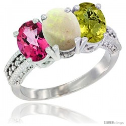 14K White Gold Natural Pink Topaz, Opal & Lemon Quartz Ring 3-Stone 7x5 mm Oval Diamond Accent
