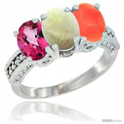 14K White Gold Natural Pink Topaz, Opal & Coral Ring 3-Stone 7x5 mm Oval Diamond Accent