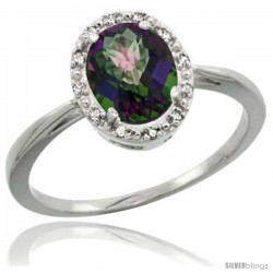 Sterling Silver Mystic Topaz Diamond Halo Ring 1.17 Carat 8X6 mm Oval Shape, 1/2 in wide