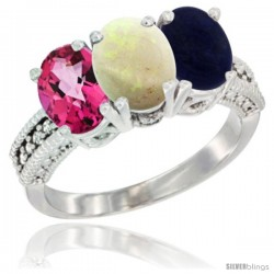14K White Gold Natural Pink Topaz, Opal & Lapis Ring 3-Stone 7x5 mm Oval Diamond Accent