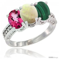 14K White Gold Natural Pink Topaz, Opal & Malachite Ring 3-Stone 7x5 mm Oval Diamond Accent
