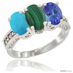 14K White Gold Natural Turquoise, Malachite & Tanzanite Ring 3-Stone 7x5 mm Oval Diamond Accent
