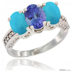 14K White Gold Natural Tanzanite & Turquoise Sides Ring 3-Stone 7x5 mm Oval Diamond Accent