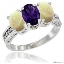 14K White Gold Natural Amethyst & Opal Sides Ring 3-Stone 7x5 mm Oval Diamond Accent