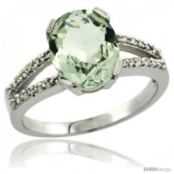 Sterling Silver and Diamond Halo Natural Green Amethyst Ring 2.4 carat Oval shape 10X8 mm, 3/8 in (10mm) wide