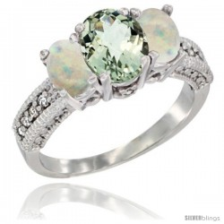 14k White Gold Ladies Oval Natural Green Amethyst 3-Stone Ring with Opal Sides Diamond Accent