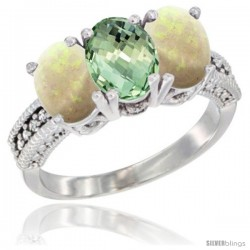 14K White Gold Natural Green Amethyst & Opal Sides Ring 3-Stone 7x5 mm Oval Diamond Accent