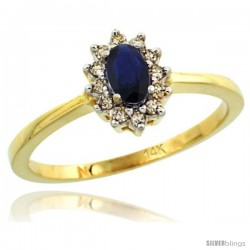 14k Yellow Gold Diamond Halo Blue Sapphire Ring 0.25 ct Oval Stone 5x3 mm, 5/16 in wide