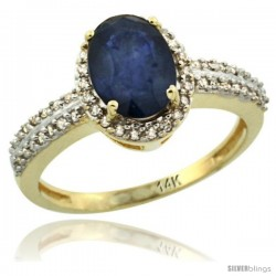 14k Yellow Gold Diamond Halo Blue Sapphire Ring 1.2 ct Oval Stone 8x6 mm, 3/8 in wide