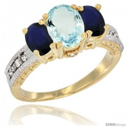 14k Yellow Gold Ladies Oval Natural Aquamarine 3-Stone Ring with Blue Sapphire Sides Diamond Accent
