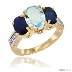 14K Yellow Gold Ladies 3-Stone Oval Natural Aquamarine Ring with Blue Sapphire Sides Diamond Accent