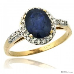 14k Yellow Gold Diamond Blue Sapphire Ring Oval Stone 8x6 mm 1.17 ct 3/8 in wide