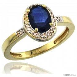14k Yellow Gold Diamond Blue Sapphire Ring 1 ct 7x5 Stone 1/2 in wide