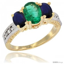 14k Yellow Gold Ladies Oval Natural Emerald 3-Stone Ring with Blue Sapphire Sides Diamond Accent