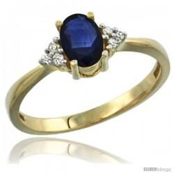 14k Yellow Gold Ladies Natural Blue Sapphire Ring oval 7x5 Stone Diamond Accent