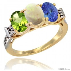 10K Yellow Gold Natural Peridot, Opal & Tanzanite Ring 3-Stone Oval 7x5 mm Diamond Accent