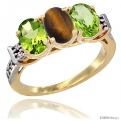 10K Yellow Gold Natural Tiger Eye & Peridot Sides Ring 3-Stone Oval 7x5 mm Diamond Accent