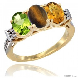 10K Yellow Gold Natural Peridot, Tiger Eye & Whisky Quartz Ring 3-Stone Oval 7x5 mm Diamond Accent