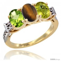 10K Yellow Gold Natural Peridot, Tiger Eye & Lemon Quartz Ring 3-Stone Oval 7x5 mm Diamond Accent