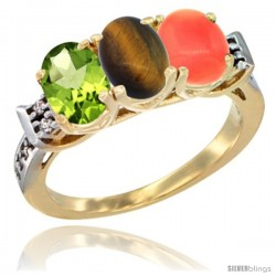 10K Yellow Gold Natural Peridot, Tiger Eye & Coral Ring 3-Stone Oval 7x5 mm Diamond Accent