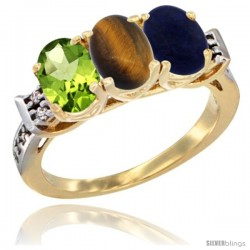 10K Yellow Gold Natural Peridot, Tiger Eye & Lapis Ring 3-Stone Oval 7x5 mm Diamond Accent