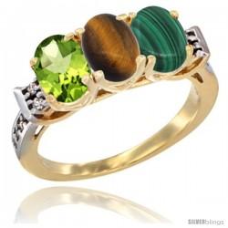 10K Yellow Gold Natural Peridot, Tiger Eye & Malachite Ring 3-Stone Oval 7x5 mm Diamond Accent