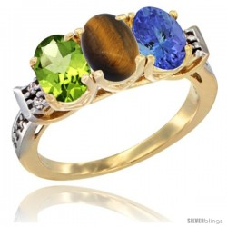10K Yellow Gold Natural Peridot, Tiger Eye & Tanzanite Ring 3-Stone Oval 7x5 mm Diamond Accent
