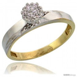 10k Yellow Gold Diamond Engagement Ring 0.06 cttw Brilliant Cut, 1/8in. 3.5mm wide -Style Ljy015er