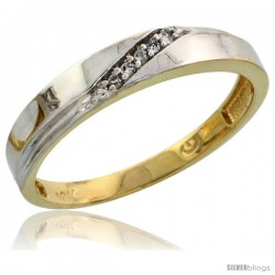 10k Yellow Gold Ladies Diamond Wedding Band Ring 0.03 cttw Brilliant Cut, 1/8 in wide -Style Ljy015lb