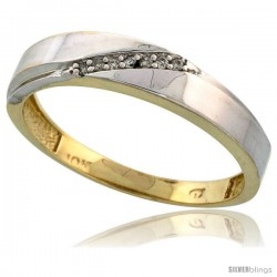 10k Yellow Gold Mens Diamond Wedding Band Ring 0.04 cttw Brilliant Cut, 3/16 in wide -Style Ljy015mb