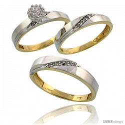 10k Yellow Gold Diamond Trio Engagement Wedding Ring 3-piece Set for Him & Her 4.5 mm & 3.5 mm wide 0.13 cttw -Style Ljy015w3