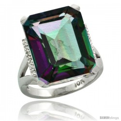 10k White Gold Diamond Mystic Topaz Ring 12 ct Emerald Cut 16x12 stone 3/4 in wide