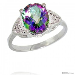 10k White Gold Diamond Mystic Topaz Ring 2.40 ct Oval 10x8 Stone 3/8 in wide